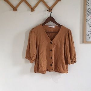 Tan button up blouse